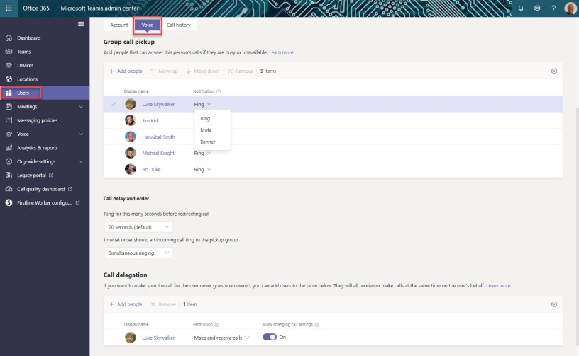 Group Call Pickup and Delegation in Microsoft Teams
